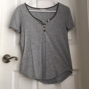Charlotte Russe Gray V-neck T shirt